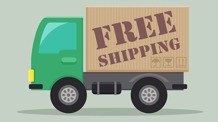 detailed illustration of a delivery truck with free shipping label, eps10 vector