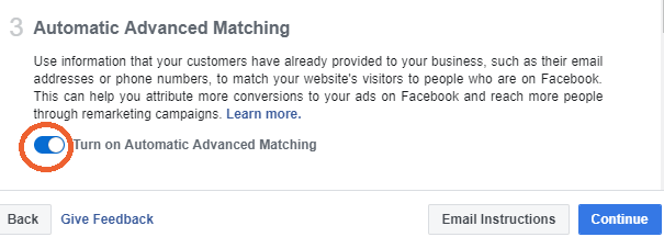 facebook pixel automatic advanced matching